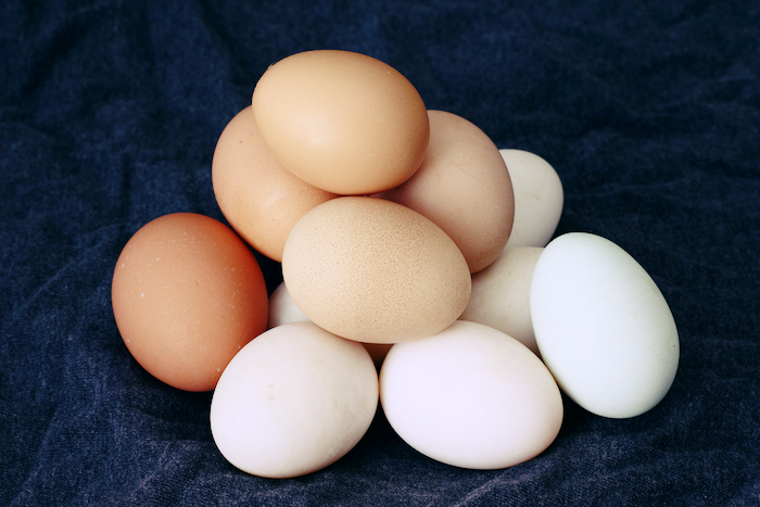 Pile of multi-colored eggs.