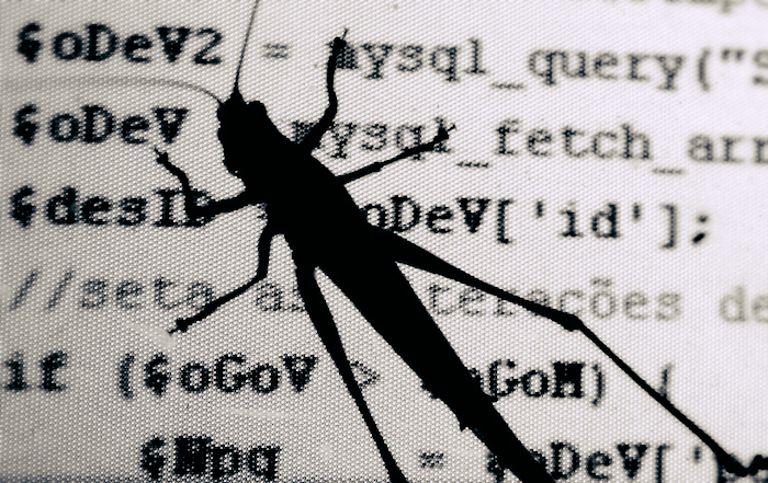 Grasshopper on the screen of a computer with code in the background.
