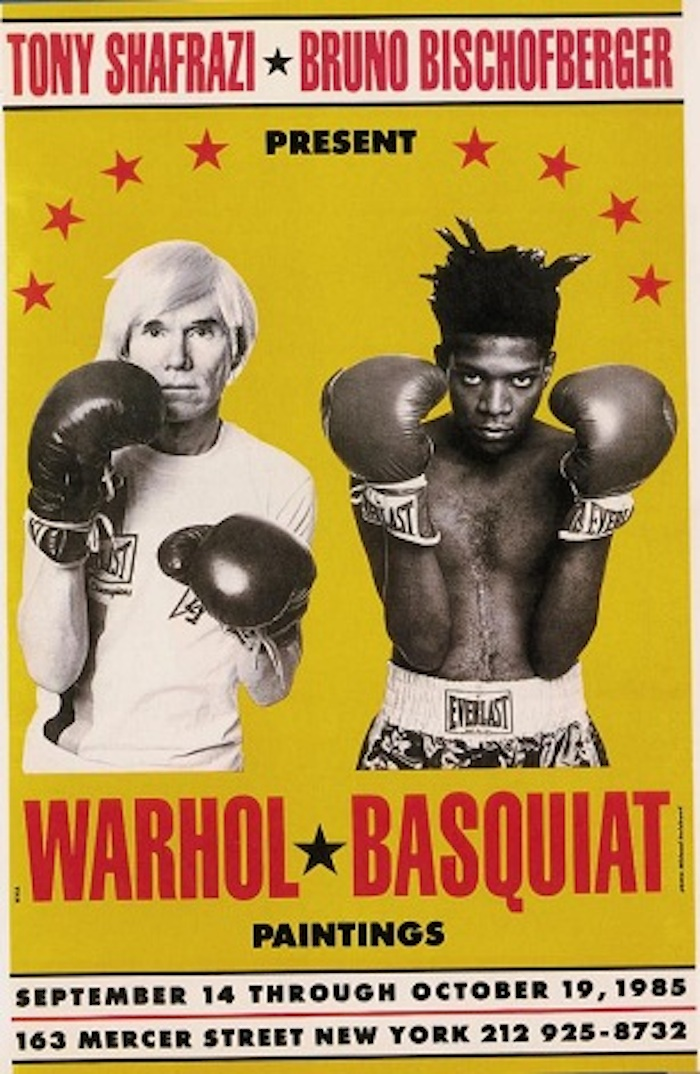 Exhibition poster for Warhol and Basquiat, presented by Tony Shafrazi and Bruno Bischofberger. Both artists are pictured wearing Everlast boxing gear.