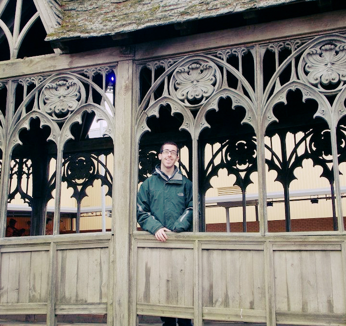 The author at Warner Bros Studios, standing on a bridge set piece for the Harry Potter movies.