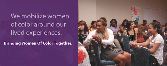 Banner from the SisterSong website, reading: We Mobilize Women of Color Around Our Lived Experiences: Bringing Women of Color Together. Includes a photo of young girls and women of color sitting together and talking.