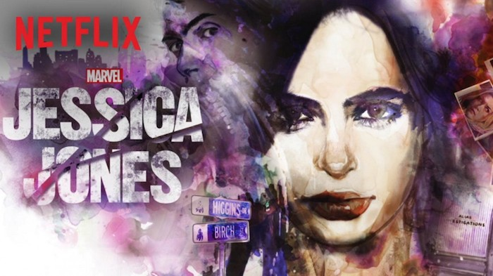 Promo poster for Jessica Jones - there is an artist's rendering of Jessica with the villain peering over her shoulder.