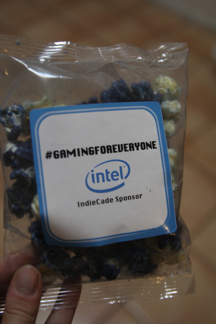 Sponsored packet of snacks, branded with Intel logo.