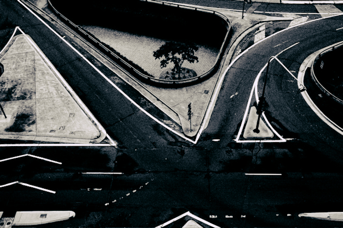 Aerial shot of a crossroads.