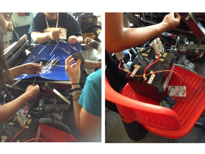 Image that has two photos side-by-side. The photo on the left has three women holding long metal rods—they are gathered around a blue plastic seat with a hole in the middle. The photo on the right shows a person's forearm above a car battery that's sitting on top of a red plastic chair.