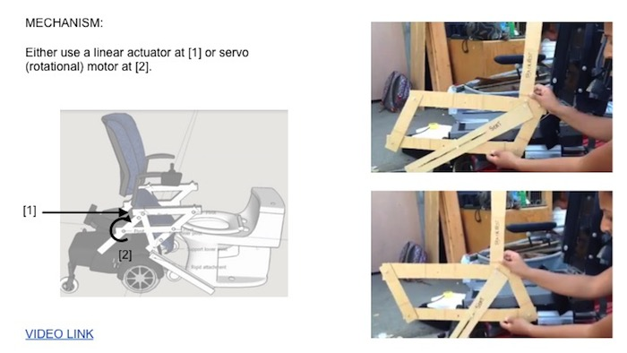 "A slide demonstrating the technical aspects of the Free to Pee mechanism, reading ""Either use a linear actuator or servo (rotational) motor"" at two intersection points in the design. The slide also contains two photographs of a wood mock-up of the mechanism."
