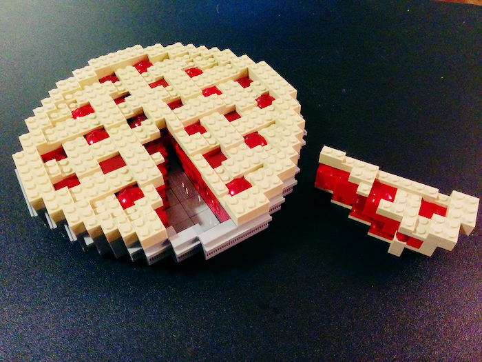 A cherry pie made out of Legos.