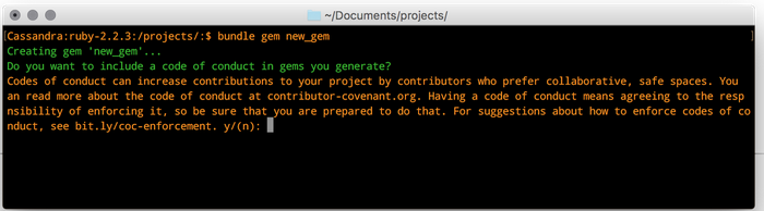 Command line dialogue for creating a new gem in Bundler, with a prompt to generate a code of conduct for the gem.