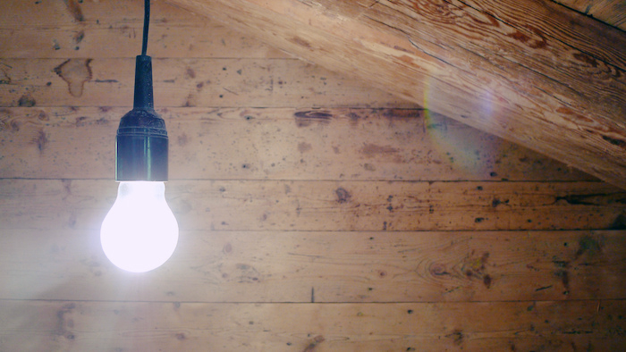 A bare lightbulb illuminated against wood paneling.