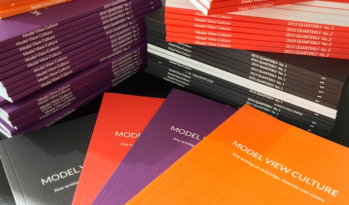 Stacks of Model View Culture print editions.