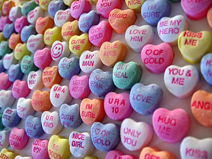 Series of candy hearts.