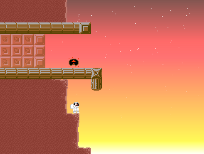 An image from REDDER, in sunset tones. The character is shown standing on a ledge. An energy cell, which the character must collect, is on a long ledge above where they stand.