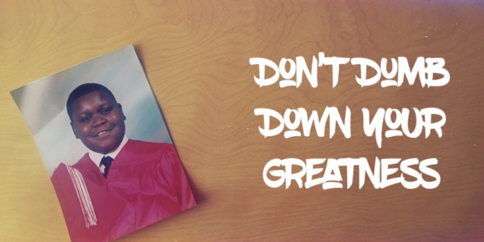 Banner image for Don't Dumb Down Your Greatness, with the title of the book and an 8th grade yearbook photo of Anthony.