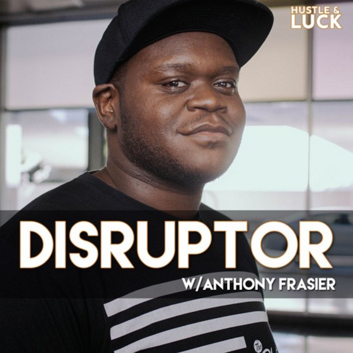 Promo image for the Disruptor podcast, with a photo of Anthony and the title.