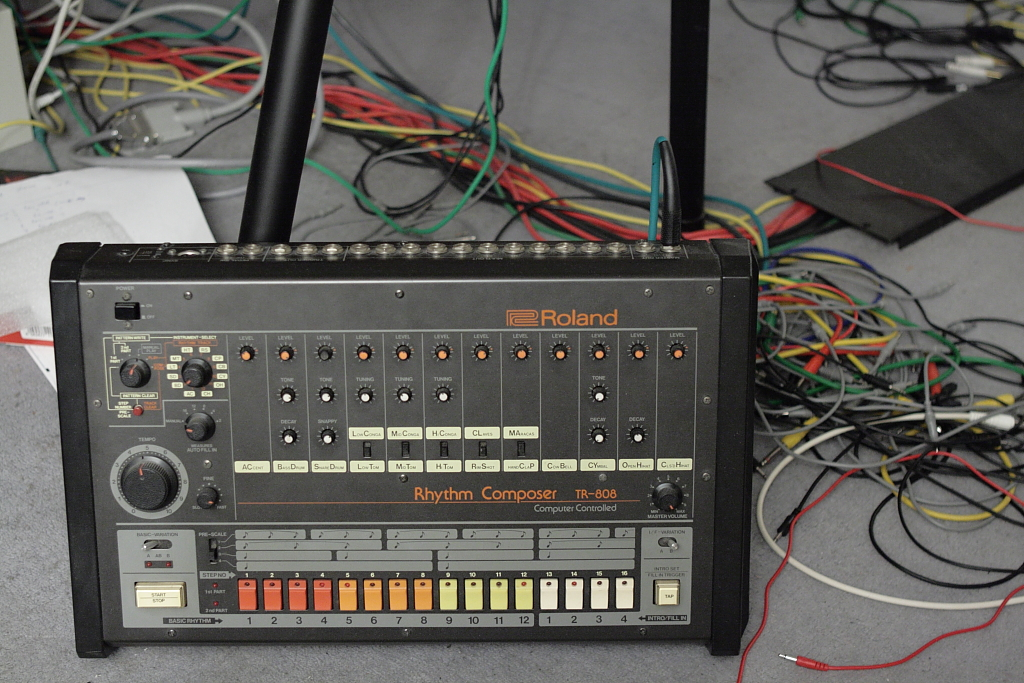 A Roland TR 808 drum machine.