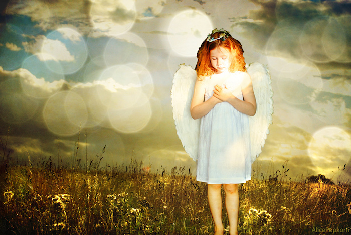 A child angel in wings and halo, standing in a field holding a glowing light in their hand.