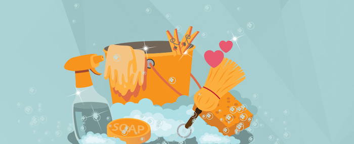 Illustration of cleaning supplies: soap, broom, mop, sponge -- gleaming.
