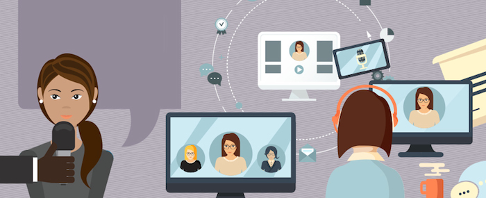 Fun illustration of a woman being interviewed by someone off-camera, holding a microphone to her mouth; as well as images of women on computer screens, and someone listening to a podcast on their computer.