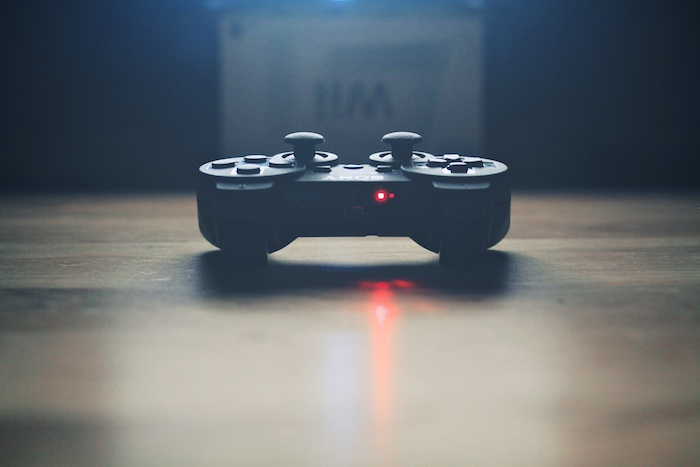 Artistic shot of a video game controller.