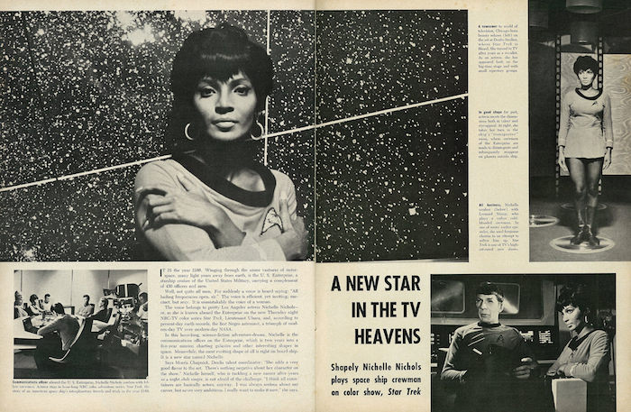 "A feature of Nichelle Nichols in a 1967 issue of Ebony magazine. The headline reads ""A new star in the TV heavens"" and features numerous photos of the actress in character."