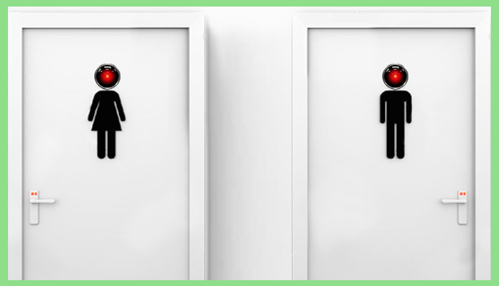 "Image of two bathroom doors; one with the pervasive ""male"" icon and the other with the ""female"" icon. The head of each icon is actually a video camera lens."