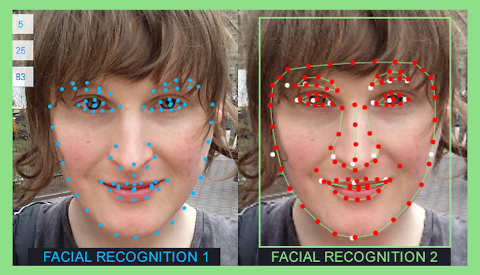 Two images of the author, visualizing how facial recognition works: facial features are marked with dots and then connected with lines.