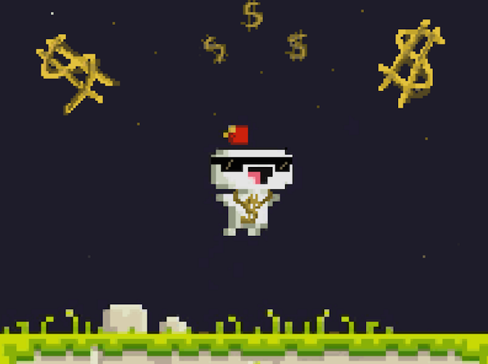 "From ""Fez"": Gomez, the main character, has on sunglasses and a gold dollar sign around his neck, and leaps from a pixelated, grassy ground towards dollar signs in starry sky."