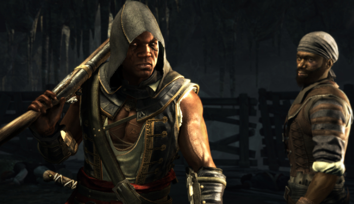 Image of Adéwalé from Assassin's Creed IV: Black Flag. He is carrying a large gun, propped against his shoulder, and is dressed in an open-chested vest with a hood pulled over his head; scars and tattoos are visible on his body.