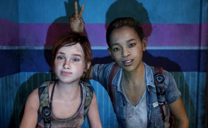 Ellie and Riley from The Last of Us: Left Behind, looking towards us as if posing for a photograph; Riley is giving Ellie bunny ears behind her head. Both are dressed in soiled outdoors-y clothes and wearing backpacks.