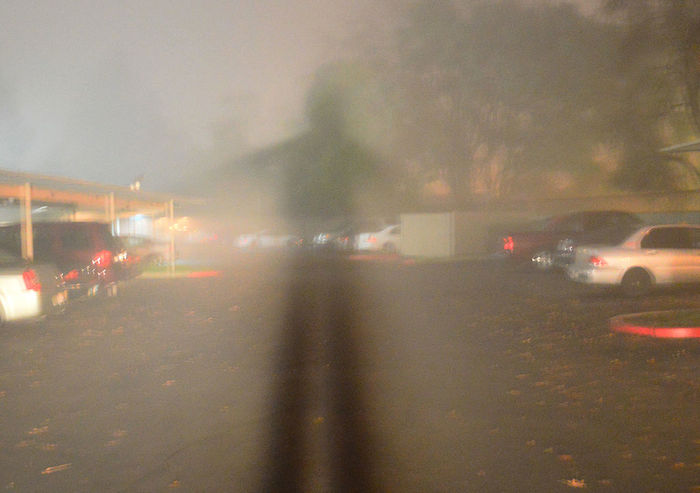 An eerie, long shadow of a person reflected in fog, and superimposed over a driveway with cars; large trees in the background.