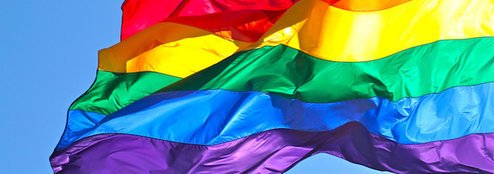 Rainbow flag billowing in the sky.