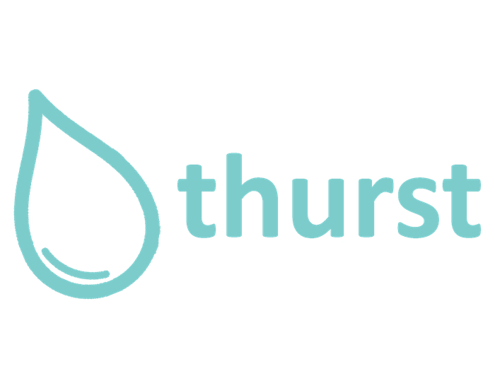 The Thurst logo: the name with a large, bubbly teal illustration of a drop of water.