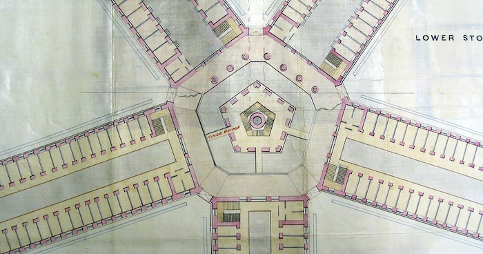"Architectural drawings for a panopticonic prison. Radiating cells from a center surveillance tower. Via photographer: ""proposed prison at outram in 1880s by colonial engineer JFA McNair. unbuilt or unbuildable."""