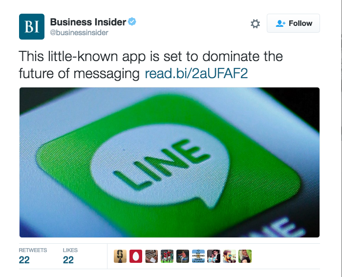 "Tweet from Business Insider reading ""This little-known app is set to dominate the future of messaging"" with a photo of the Line logo."