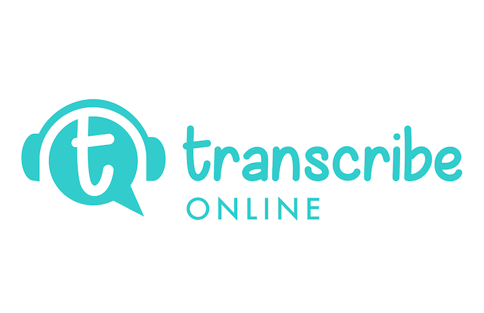 Transcribe Online logo: the words in a fun, bubbly font and a 'T' speech bubble wrapped in headphones.