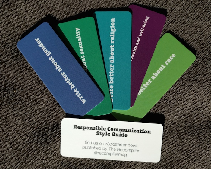 Series of cards illustrating the Responsible Communication Style Guide:  the cards read 'Write better about gender,' 'Write better about sexuality', as well as cards for religion, health and well-being and race.