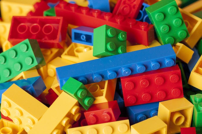 Pile of colorful Lego building blocks.