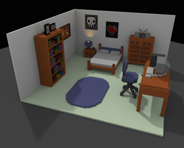 Screenshot from Snapshot game: shows a room in pixelated graphics with skull and heart posters on the wall, a computer desk, several bookshelves, a rug, and bed with pillows.