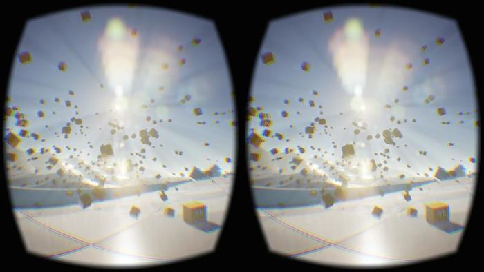 Sample screen capture of Oculus Rift Development Kit 2 screen buffer: image is like looking through binoculars, capturing a concrete floor with dozens of cardboard boxes flying in the air.