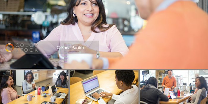 Photo collage of Colorstock workplace photos. Includes people of color collaborating in meetings, working on their laptops and presenting content to their teams.