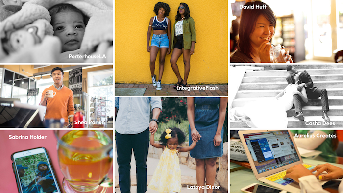 A collage of images from Colorstock. Photos in the collage include a Black couple in a wedding portrait, a Black child being swung between her parents' arms, as well as images of people typing on laptops, and a table with tea and an iPhone.