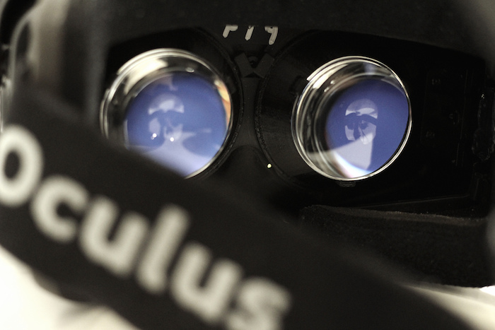 Close-up of the Oculus headset: shows the eye goggles and head strap.