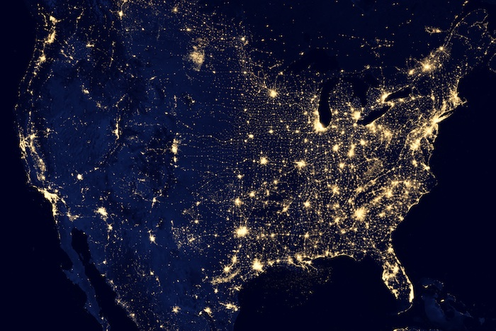 Visualization of light pollution across the United States taken from space.