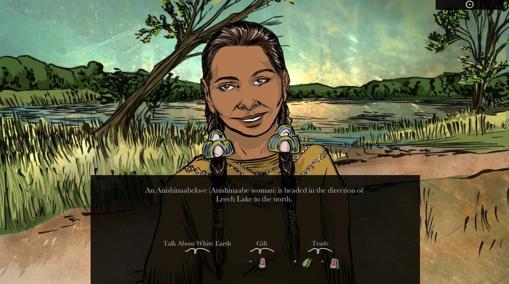 """Still from the video game When Rivers Were Trails: """"An Anishinaabekwe (Anishinaabe woman) is headed in the direction of Leech Lake to the north."""" The game offers the option to Talk About White Earth, Gift or Trade."""