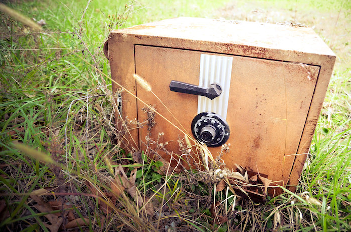 Photo of a large, locked safe in the grass.