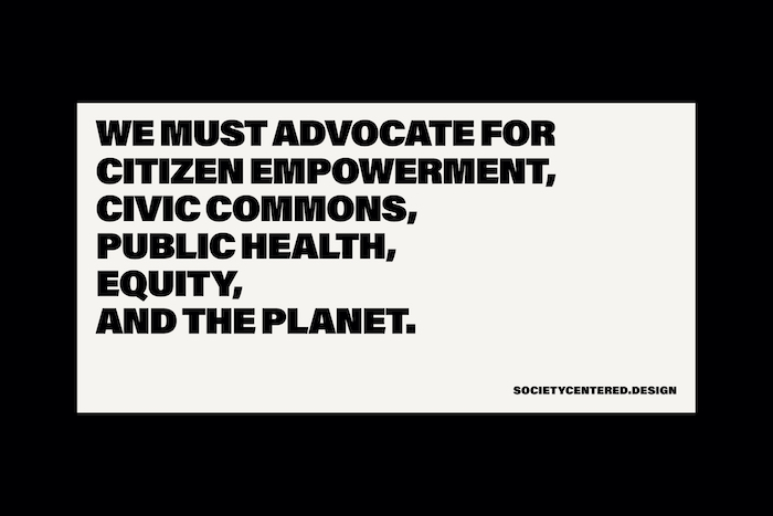 "Quote reading ""We must advocate for citizen empowerment, civic commons, public health, equity, and the planet."""